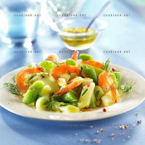 Poireaux crevettes en vinaigrette