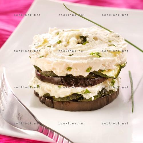 Photo Culinaire Millefeuille D Aubergine Courgette Et Chevre Frais