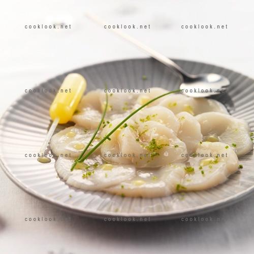 Photo culinaire carpaccio de saint jacques aux agrumes cooklook photo recette cuisine et - Saint jacques aux agrumes ...