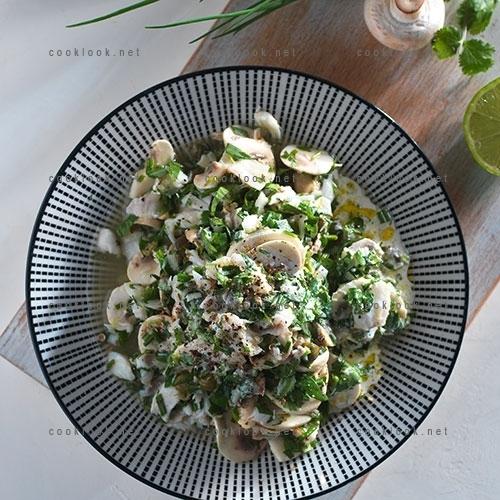 Salade tiède de cabillaud poché