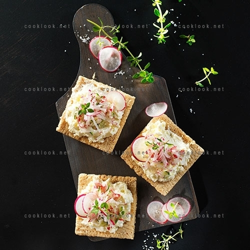 Craquinette de chèvre, radis et concombre