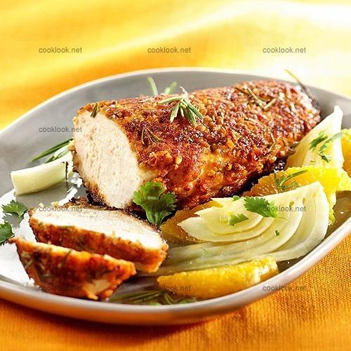 photo culinaire poulet pan aux amandes et salade de fenouil cooklook photo recette cuisine. Black Bedroom Furniture Sets. Home Design Ideas