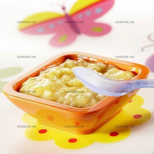 Purée de banane et mangue au yaourt