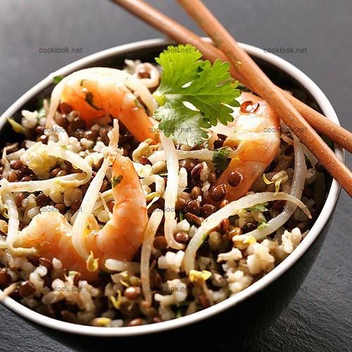 Salade de légumes secs, soja et crevettes