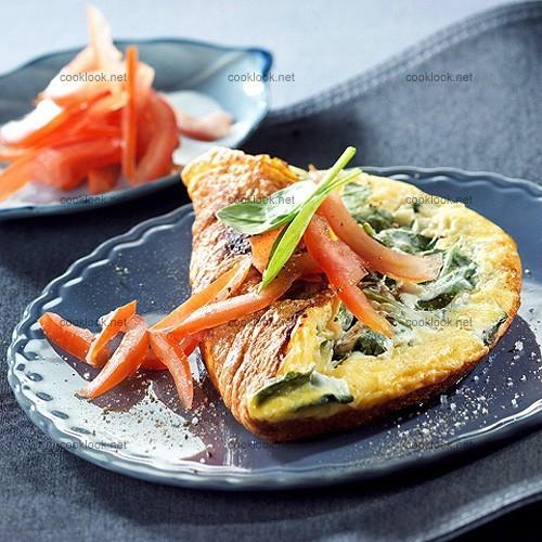 Omelette au fromage blanc et aux jeunes pousses