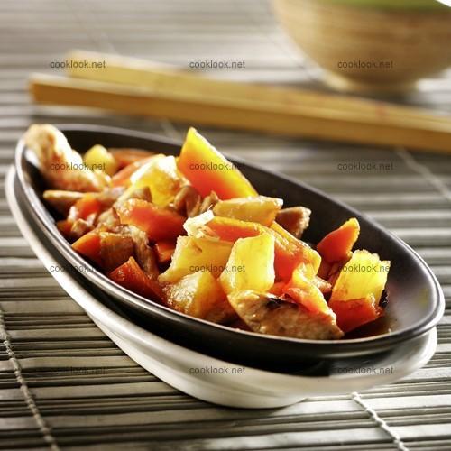 Poêlée de dinde aux carottes et ananas