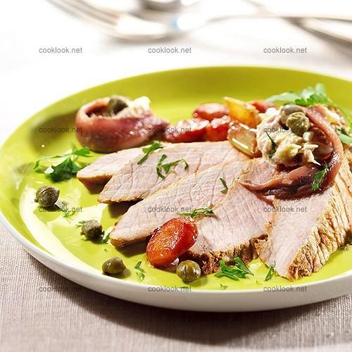 Veau, légumes et mousse au thon