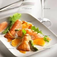 photo recette Langoustines rôties, agrumes et asperges vertes