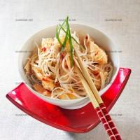 photo recette Poulet, vermicelles de riz et sauce cacahuètes