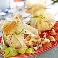 photo recette Aumônières de pommes au camembert et lardons
