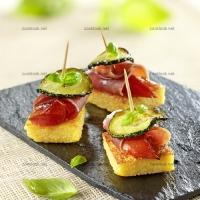 photo recette  Carrés de polenta jambon