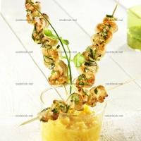 photo recette Brochettes de dinde et compotée de mangue