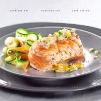 photo recette Paupiette de saumon et légumes en tagliatelles