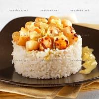 photo recette Noix de pétoncle et son riz au curry