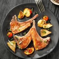 photo recette Côtes d'agneau aux légumes rôtis
