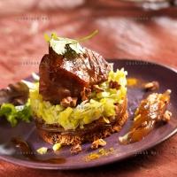 photo recette Echine caramélisée aux épices sur sa fondue de poireaux