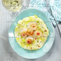 photo recette Noix de St Jacques et fondue de poireaux