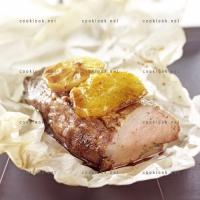 photo recette Rôti de porc farci à la sauge, à la moutarde ancienne et ses légumes