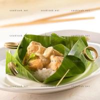 photo recette Papillote de poulet coco et son riz gluant