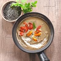 photo recette Crème de lentilles aux moules et au lard fumé