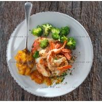 photo recette Gambas grillées, verdure de brocolis et chutney de mangue