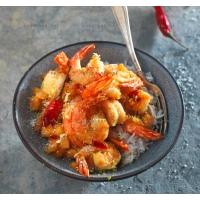 photo recette Gambas poêlées au miel et à l'ananas