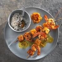 photo recette Brochettes de crevettes à l'ananas