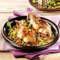 photo recette Cuisses de lapin aux fèves et à la menthe