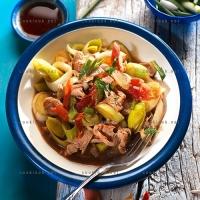 photo recette Emincé de poulet aux poireaux et jambon fumé