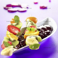 photo recette Brochettes de fruits au chocolat fondu