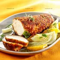 photo recette Poulet pané aux amandes et salade de fenouil