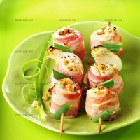 photo recette Brochettes de poulet au lard