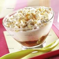 photo recette Dessert fruité au pop corn et fromage blanc