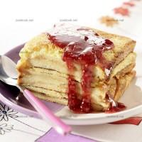 photo recette Pudding à la confiture de framboises