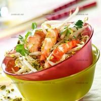 photo recette Crevettes sur lit de soja