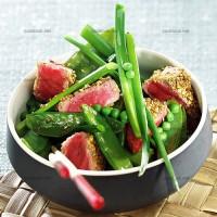 photo recette Salade de bœuf aux légumes verts