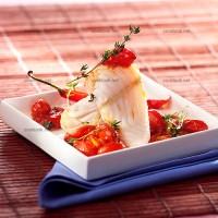 photo recette Filet de merlu et compotée de tomates cerises au balsamique