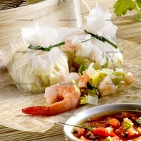 photo recette Crêpes de riz farcies aux crevettes