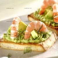 photo recette Toasts à la crème d'avocats et crevettes