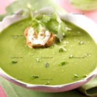 photo recette Velouté de petits pois et tartines fromagères