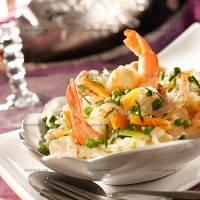 photo recette Risotto de poulet gambas aux petits légumes