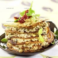 photo recette Millefeuille de crêpes, au chèvre frais et au basilic