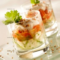 photo recette Verrines au poisson et purée de tomates