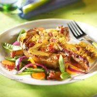 photo recette Côtes de porc aux petits lardons et à la moutarde