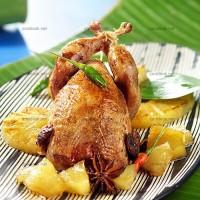 photo recette Cailles et ananas rôtis