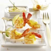 photo recette Brochettes de gambas et pêches jaunes