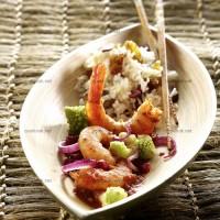photo recette Gambas à la grenade et riz aux fruits secs
