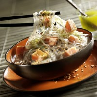photo recette Saumon et pâtes japonaises